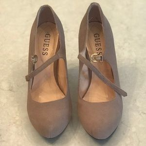 Taupe/Nude Guess suede strap heels
